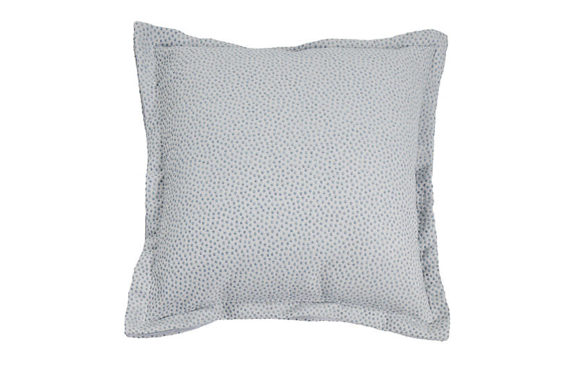 Carmel Outdoor Pillow, Chambray Dots