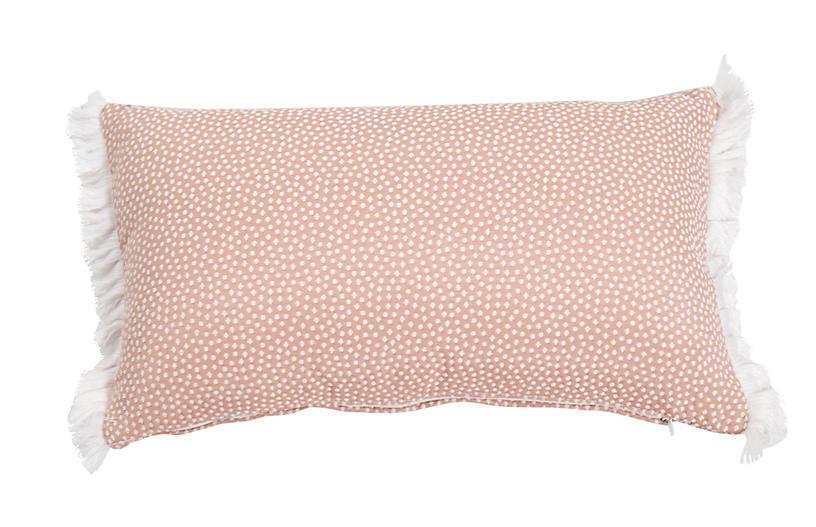 Frances 14x24 Lumbar Outdoor Pillow, Blush Dots