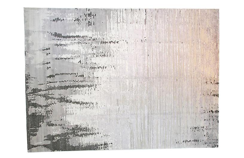 10'x14' Velvet Rug, Silver/Black
