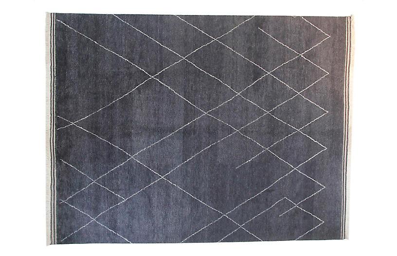 9'x12' Moroccan Rug, Charcoal
