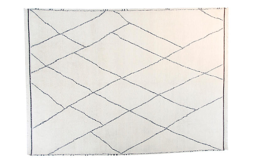 9'x12' Moroccan Rug, Ivory/Blue