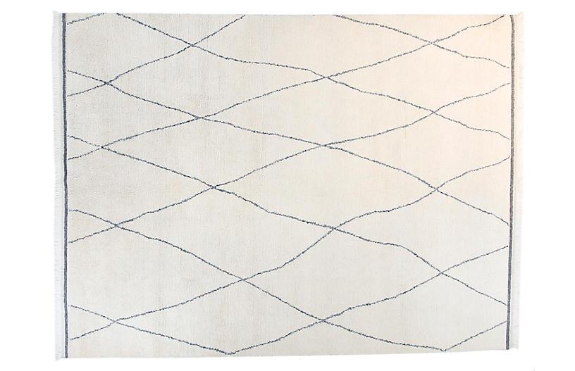 9'x12' Moroccan Lee Rug, Ivory/Blue
