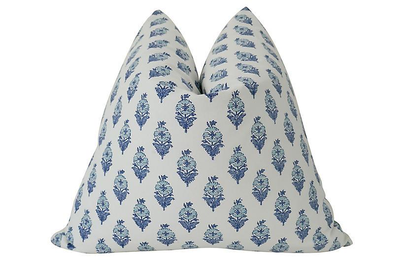 Valencia 24x24 Pillow, Indigo/White