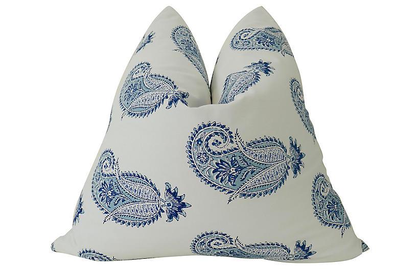 Cypress 24x24 Pillow, Indigo/White