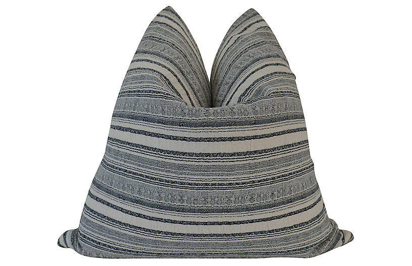 Morro 24x24 Pillow, Charcoal/Tan