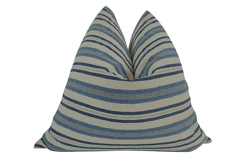 Calistoga 24x24 Pillow, Blue/Sand