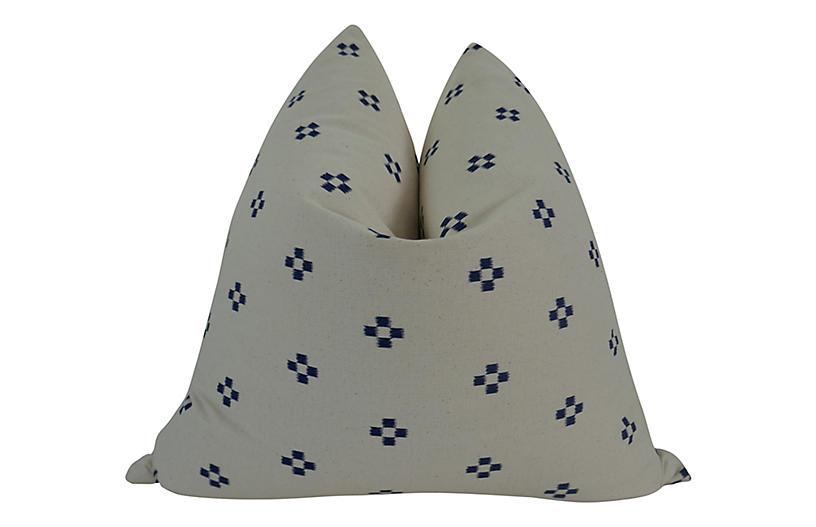 Sausalito 24x24 Pillow, Natural/Indigo