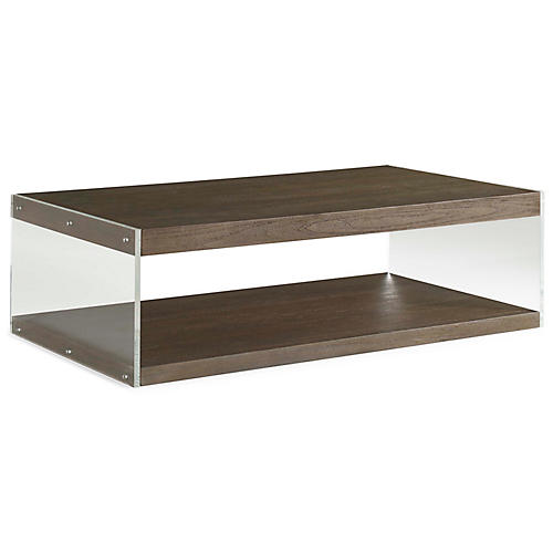Dalton Lucite Coffee Table, Nutmeg