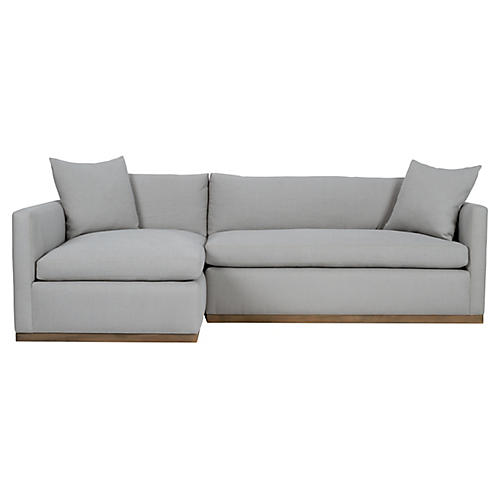Francis Left-Facing Sectional, Light Gray Linen