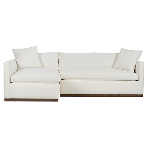 Francis Left-Facing Sectional, Ivory Crypton