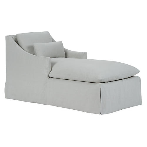 Everett Chaise, Sea Glass Linen