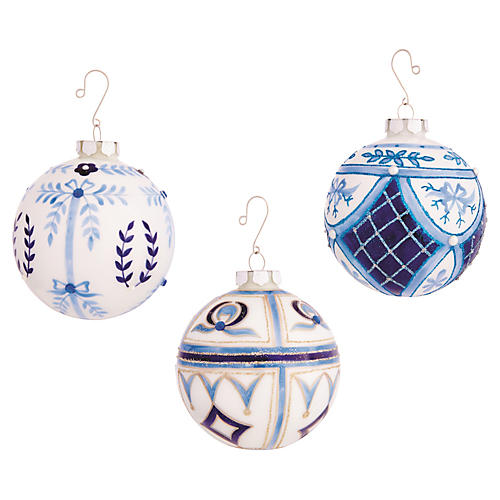 Asst. of 3 Ball Ornaments, White/Blue