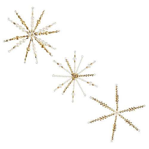 Asst. of 3 Starburst Ornaments, Gold