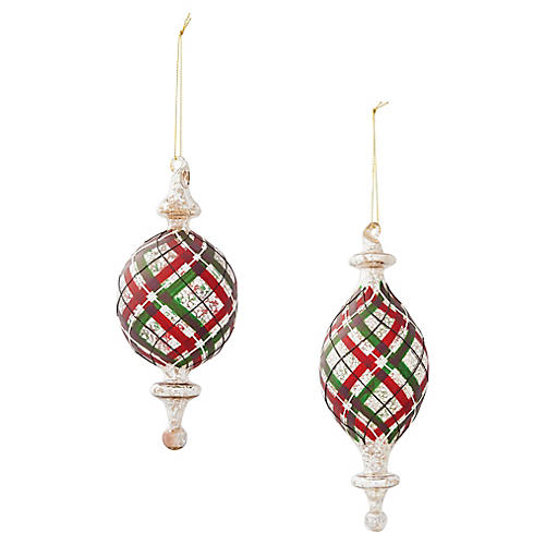 Asst. of 2 Plaid Drop Ornaments, Red/Green/Silver