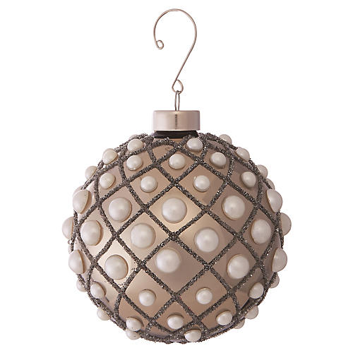 Pearl Studded Ball Ornament, Smoke