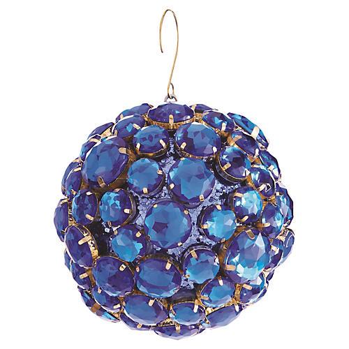 Jewel Ball Ornament, Blue/Gold