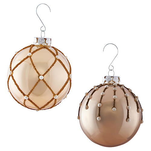 Asst. of 2 Pearl Beaded Beaded Ornaments, Ivory