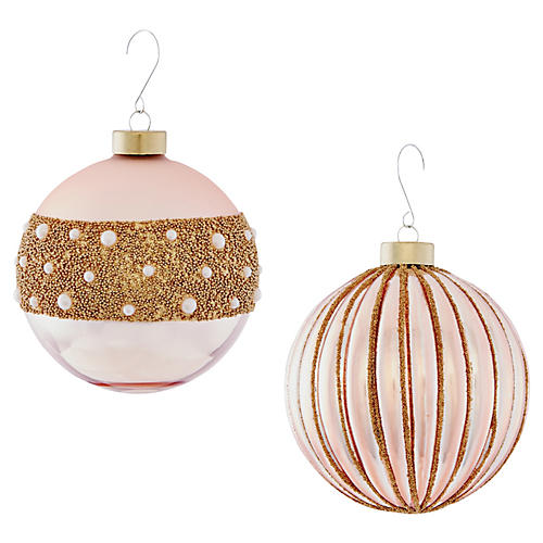 Asst. of 2 Beaded Vintage Ornaments, Champagne