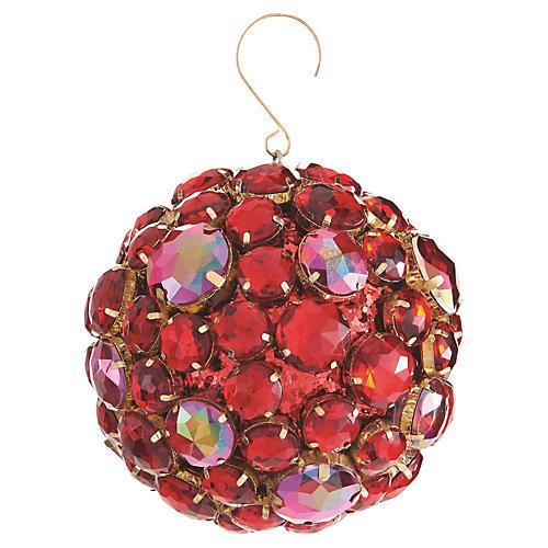 Jewel Ball Ornament, Red