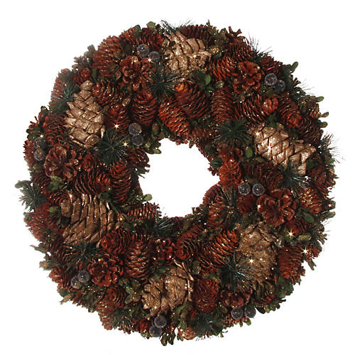 """20"""" Mixed Pinecone Wreath, Dried"""