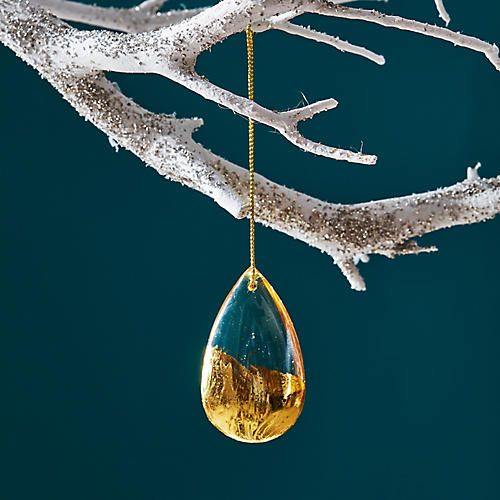 Glass Drop Ornament, Gold/Clear