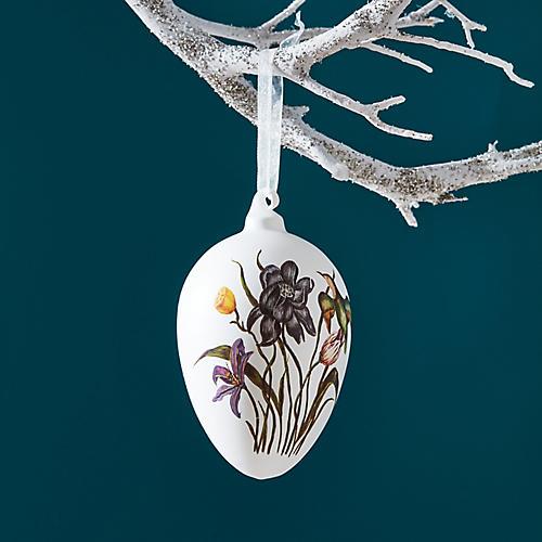 Bird & Flowers Egg Ornament, White/Multi