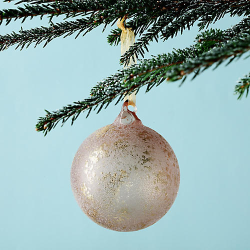 Transparent Leaf Ball Ornament, Pink/Gold