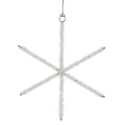 Beaded Star Ornament, White/Silver