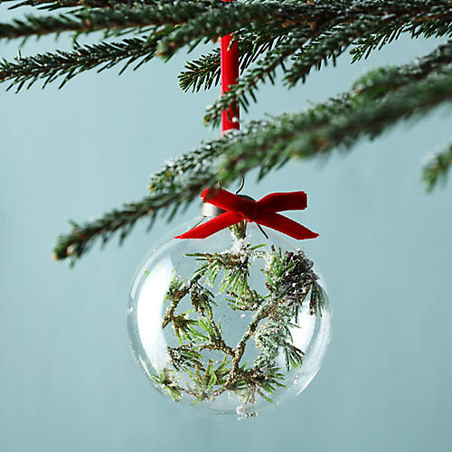 Floating Evergreen Ball Ornament, Green/Red