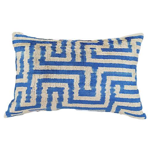 Larissa 16x24 Lumbar Pillow, Cobalt/Ivory