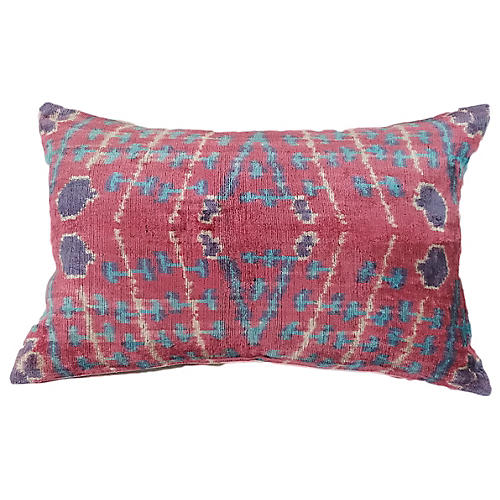 Lilian 16x24 Lumbar Pillow, Pink Ruby/Blue
