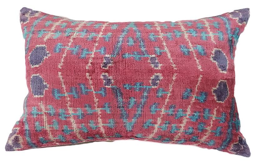 Lilian 16x24 Lumbar Pillow, Pink Ruby/Blue