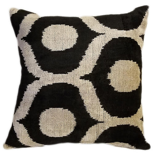 Joyce 16x16 Pillow, Black/Cream