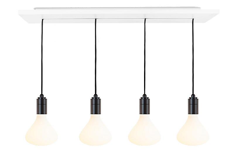 Noma 4-Bulb Linear Pendant, Graphite/Matte Porcelain