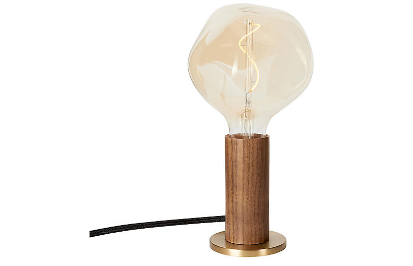 Knuckle Clear Table Lamp, Walnut/Brass