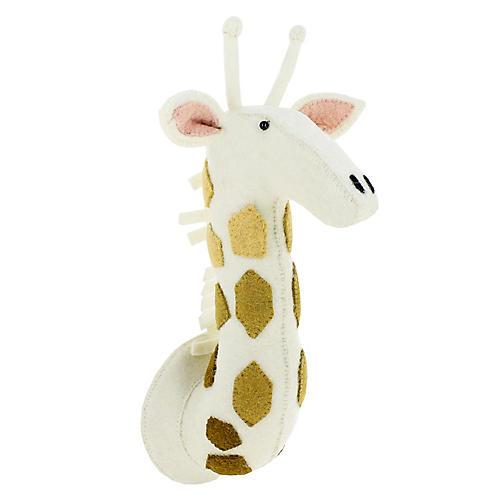 Giraffe Wall-Mounted Plush Toy, Cream/Gold