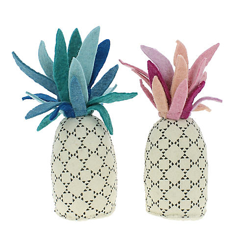 Pineapple Plush Toys, Pink/Blue