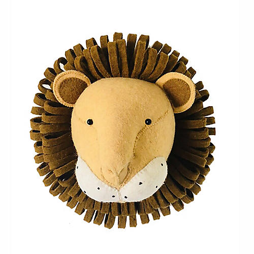 Lion Wall-Mounted Plush Toy, Copper/Multi
