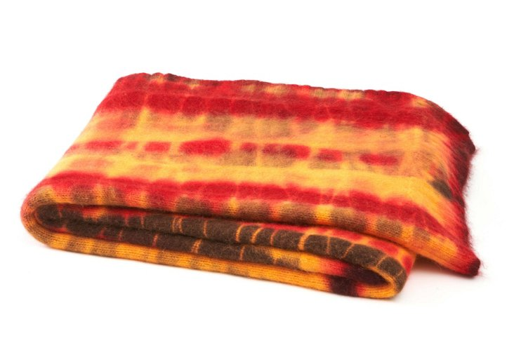 525 America Angora Throw, Tie Dye