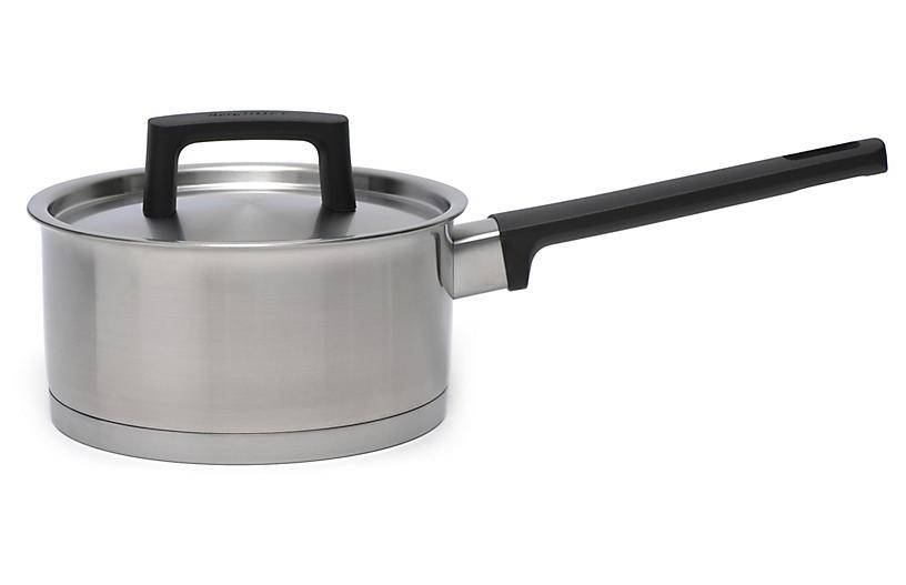 Ron Covered Saucepan, Silver/Black
