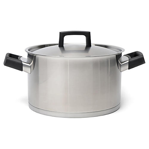 Ron Covered Stockpot, Silver/Black