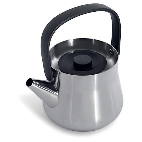 Ron Teapot w/ Strainer, Silver/Black