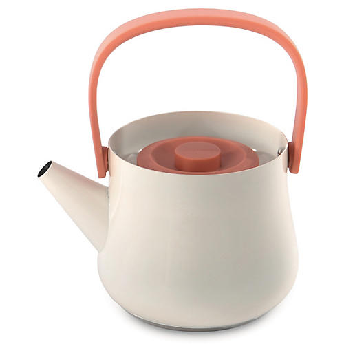 Ron Teapot w/ Strainer, White/Orange