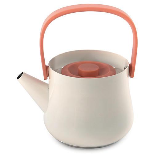 Ron Teapot w/ Strainer, White/Orange