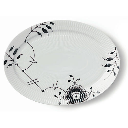 Mega Oval Plate, White/Black