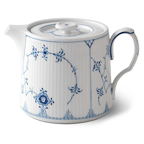 Fluted Teapot, White/Blue