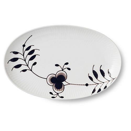 Mega Oval Accent Dish, White/Black