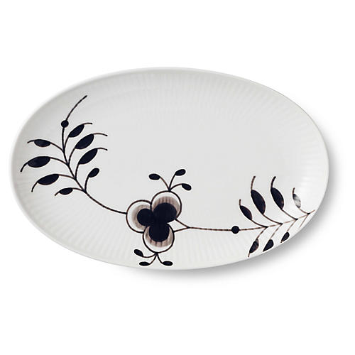 Mega Oval Accent Dish, White/Black