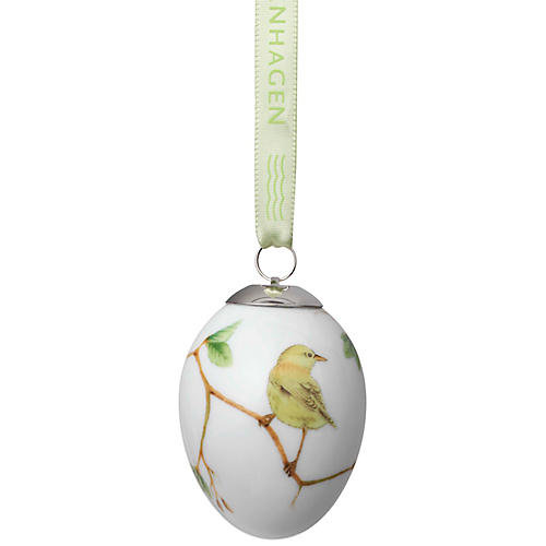 "3"" Warbler Easter Egg Ornament, Yellow/Multi"