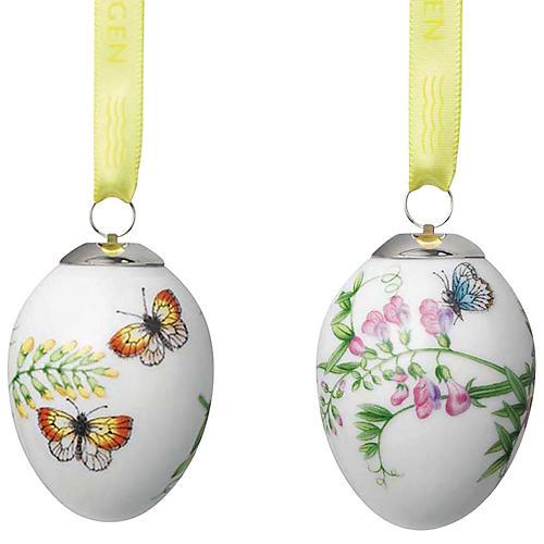 Butterfly Easter Egg Ornaments, White/Multi